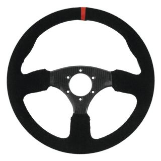 "DragonFire Racing Steering Wheels Shallow Carbon, Carbon Fiber w/Red indicator stripe, 1.5"" offset"