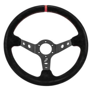 """DragonFire Racing Steering Wheels Sport, Suede, Black w/Red stitching and indicator stripe, 2.5"""" offset"""