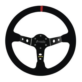 "DragonFire Racing Steering Wheels Sport, Suede, Black w/Red indicator stripe, 2.5"" offset"