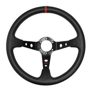 "DragonFire Racing Steering Wheels Sport, Vinyl, Black w/Red indicator stripe, 2.5"" offset"
